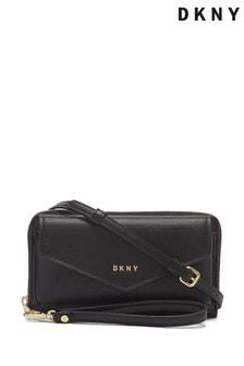 DKNY Black Polly Convertible Leather Wristlet Bag