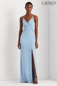 Lauren Ralph Lauren Sky Blue Silky Crepe Stretch Varena Evening Dress