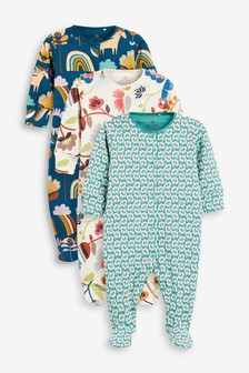 Navy 3 Pack Retro Floral Sleepsuits (0mths-2yrs)