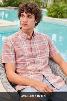 Pink Regular Fit Check Linen Blend Shirt
