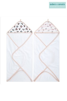aden + anais  Essentials Hooded Disney™ Baby Minnie Rainbows Towels Two Pack