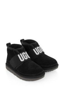 Boys Black Suede Logo Boots
