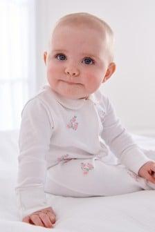 Pink Premium Embroidered Single Sleepsuit (0-2yrs)