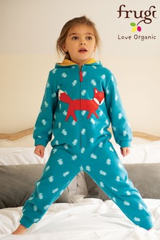 Frugi Blue GOTS Organic Cosy Brushback All in One