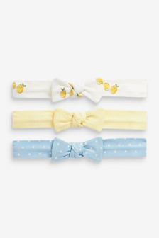 Yellow/Blue 3 Pack Bow Headbands (Younger)