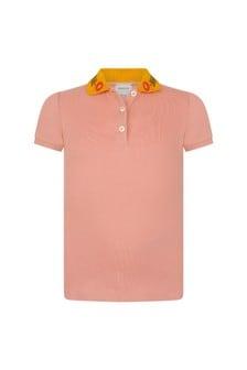 GUCCI Kids Girls Pink Piquet Polo Top