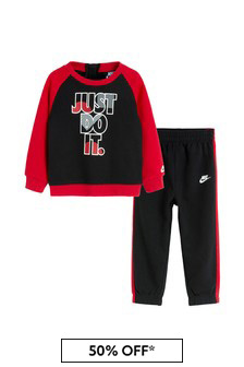 Baby Boys Black Cotton Just Do It Tracksuit