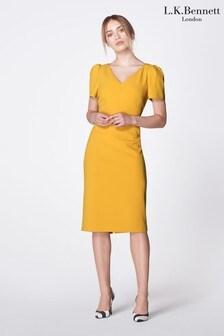 L.K.Bennett Yellow Rebecca Fitted Dress