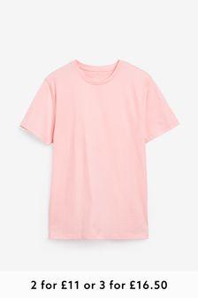 Light Pink Regular Fit Crew Neck T-Shirt