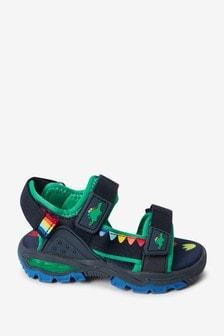 Navy Dinosaur Light-Up Trekker Sandals (Younger)