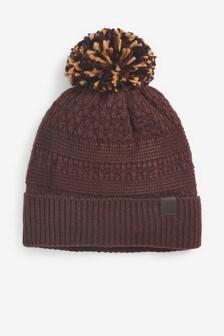Burgundy Bobble Hat