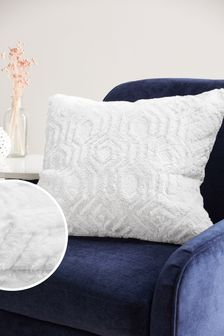 Freya Textured Geo Faux Fur Cushion