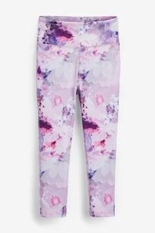 Purple Floral Sports Leggings (3-16yrs)