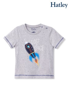 Hatley Grey Space Rocket Glow In The Dark Baby Graphic T-Shirt