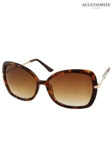 Accessorize Brown Sophie Metal Detail Square Sunglasses