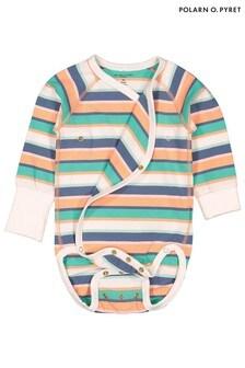 Polarn O. Pyret White Organic Stripe Bodysuit