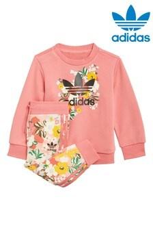adidas Originals Infant Floral Crew And Jogger Set