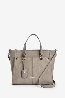Grey Tab Detail Tote Bag