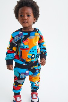 Rainbow Crew and Joggers All Over Print Jersey Set (3mths-7yrs)