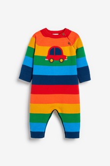 Rainbow Knitted Car Romper (0mths-2yrs)