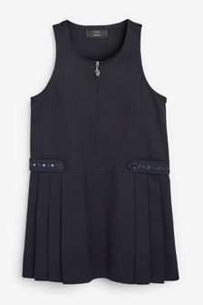 Navy Embroidered Zip Pinafore (3-14yrs)