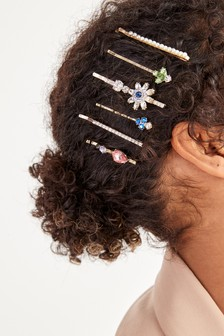 Gold Tone Crystal Flower 6 Pack Hair Clips