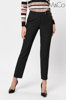 M&Co Petite Black Slim Leg Stretch Trousers