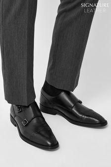 Black Leather Toe Cap Double Monk Shoes