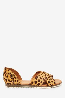 Leopard Print Cross Over Two Part Shoes