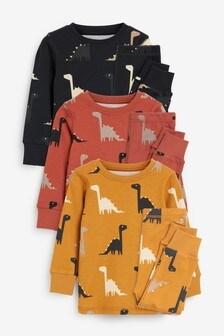 Multi 3 Pack Dino Print Snuggle Pyjamas