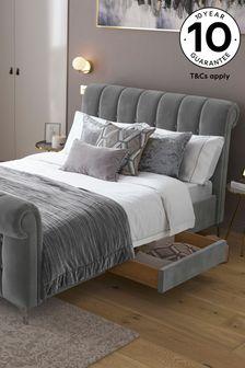Opulent Velvet Steel Hargrave Sleigh Two Drawer Storage Bed