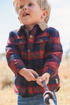 Red Check Long Sleeve Borg Lined Shacket (3mths-7yrs)