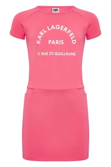 Karl Lagerfeld Pink Logo Skater Dress