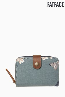 FatFace Green Etched Floral Canvas Purse