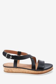 Black Regular/Wide Fit Forever Comfort® Flatform Sandals