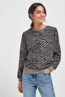 Grey Zebra Print Washed Sweatshirt