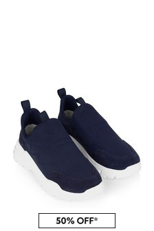 Boys Navy Blue Suede & Neoprene Trainers