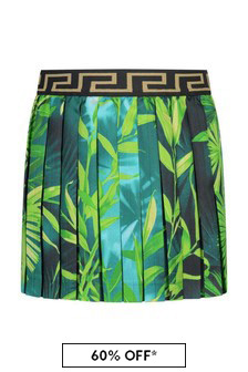 Girls Green Jungle Print Silk Pleated Skirt