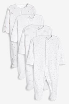 White 4 Pack Delicate Multi Print Sleepsuits (0-2yrs)