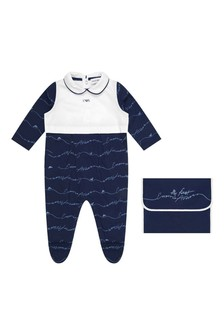 Boys Navy Cotton Jersey Babygrow