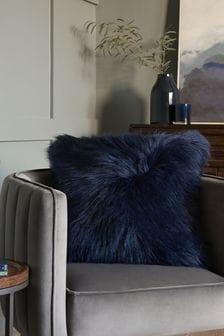 Navy Blue Arctic Cosy Faux Fur Square Cushion
