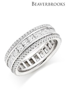 Beaverbrooks Silver Cubic Zirconia Triple Row Ring