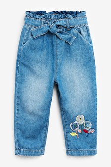 Denim Pull-On Tie Belt Jeans With Flower Detail (3mths-7yrs)