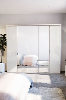White-mirror Peyton 2.5M Glass Hinged 5 Door Wardrobe