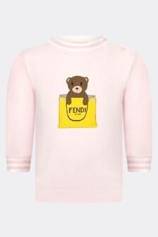 Fendi Kids Baby Girls Pink Cotton Sweater