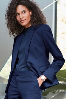 Blue Single Breasted Tailored Fit Jacket