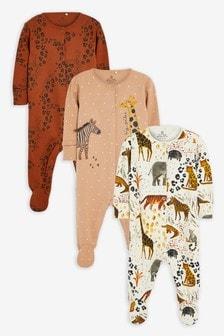 Tan 3 Pack Animal Safari Sleepsuit (0mths-2yrs)