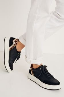 Black With Animal Signature Leather Back Detail Trainers