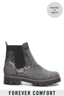 Grey Forever Comfort® Studded Chunky Chelsea Boots