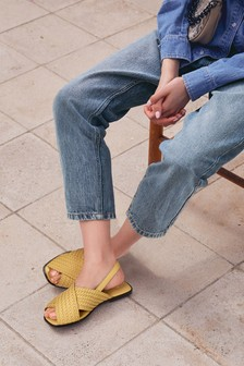 Yellow Regular/Wide Fit Forever Comfort® Square Toe Weave Slingback Sandals